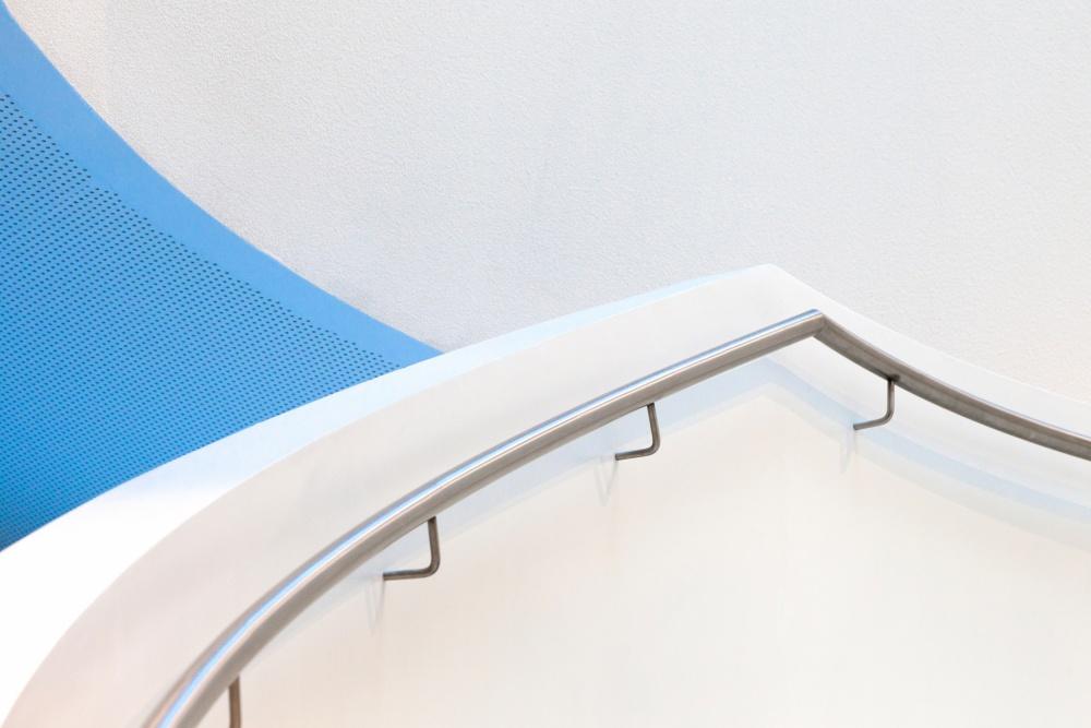 A piece of fine art art photography titled Stairs With Blue by Jeroen van de Wiel