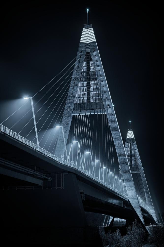 A piece of fine art art photography titled Megyeri Bridge by Nándor László