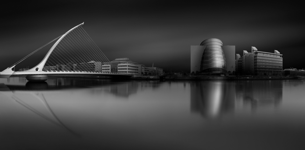 A piece of fine art art photography titled Samuel Beckett Bridge (Calatrava) and the Convention Centre by Hugo Borges