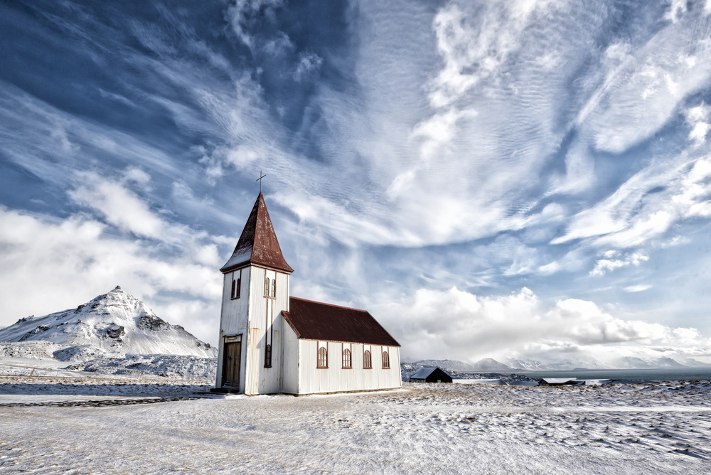 A piece of fine art art photography titled Hellnar Chuch In Spring by mike kreiten