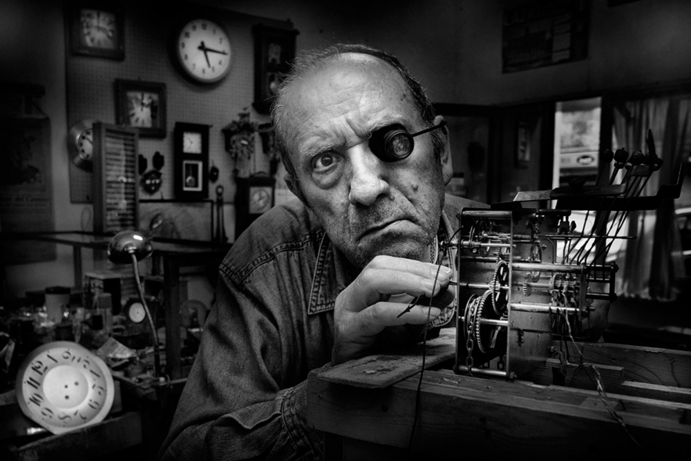 A piece of fine art art photography titled Mr Domenico, the Watchmaker, to Work With Complicated Mechanisms by Antonio Grambone
