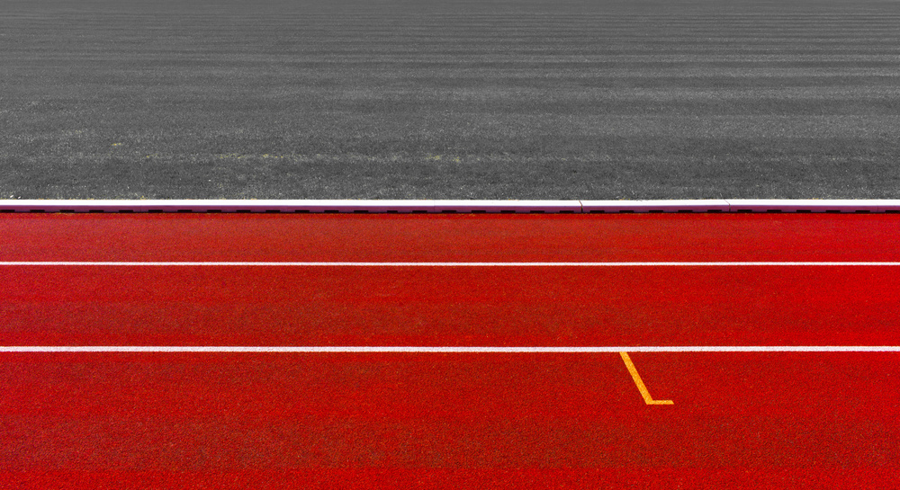 A piece of fine art art photography titled Lanes and Grass by Hans Martin Doelz