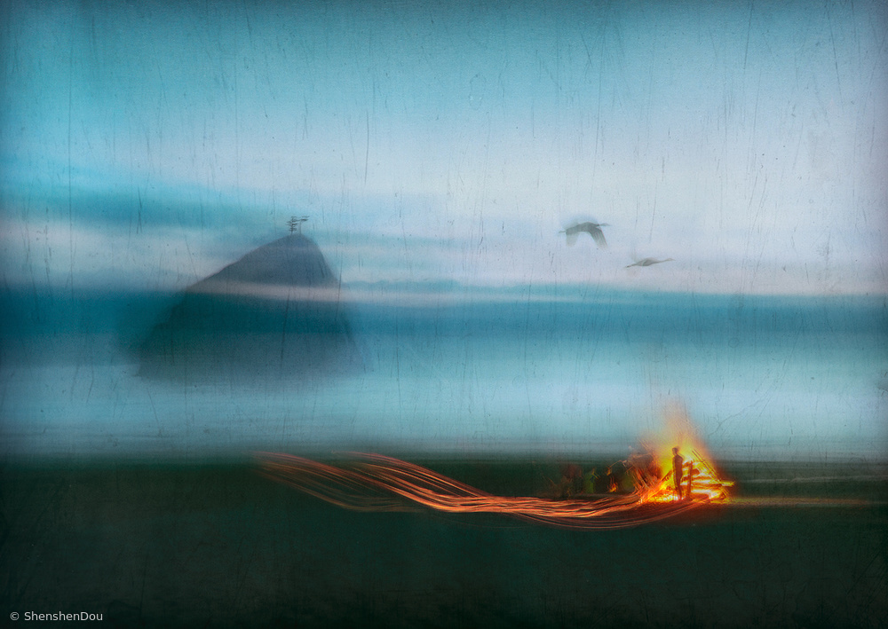 View this piece of fine art photography titled Bonfire on the beach by Shenshen Dou