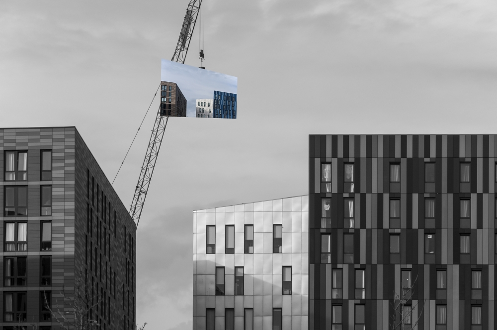 A piece of fine art art photography titled  the Addition of Colour In Modern Architecture by Dave Quince