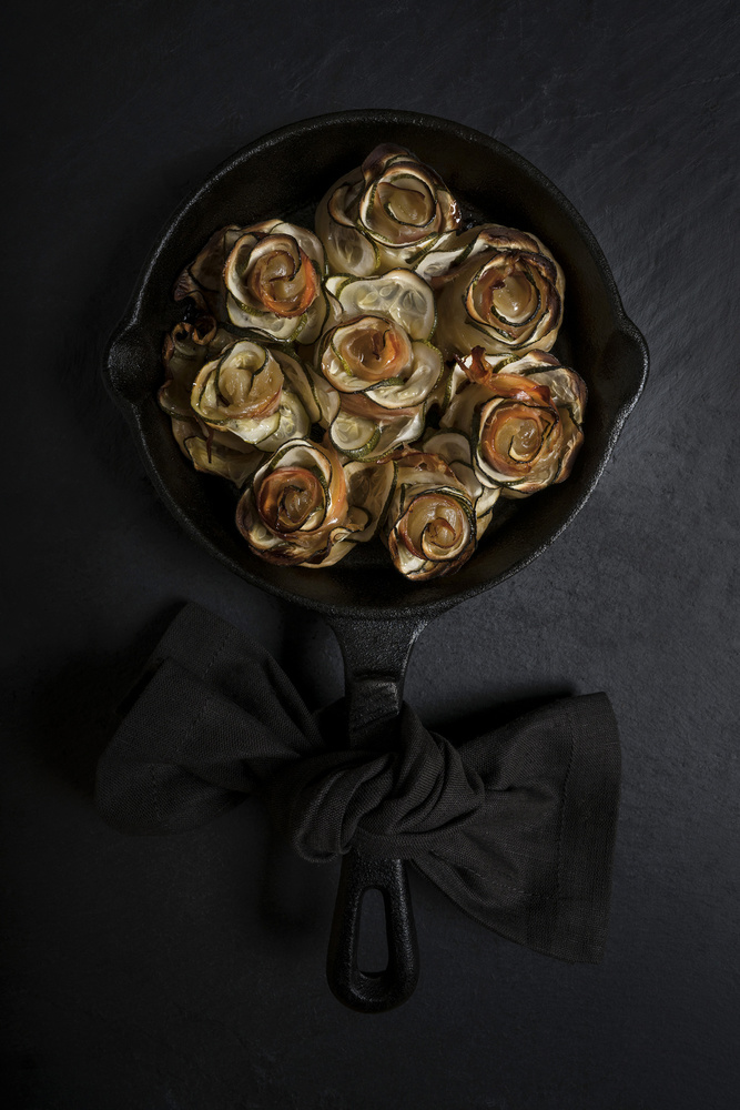 A piece of fine art art photography titled Zucchini and Prosciutto Roses by Diana Popescu