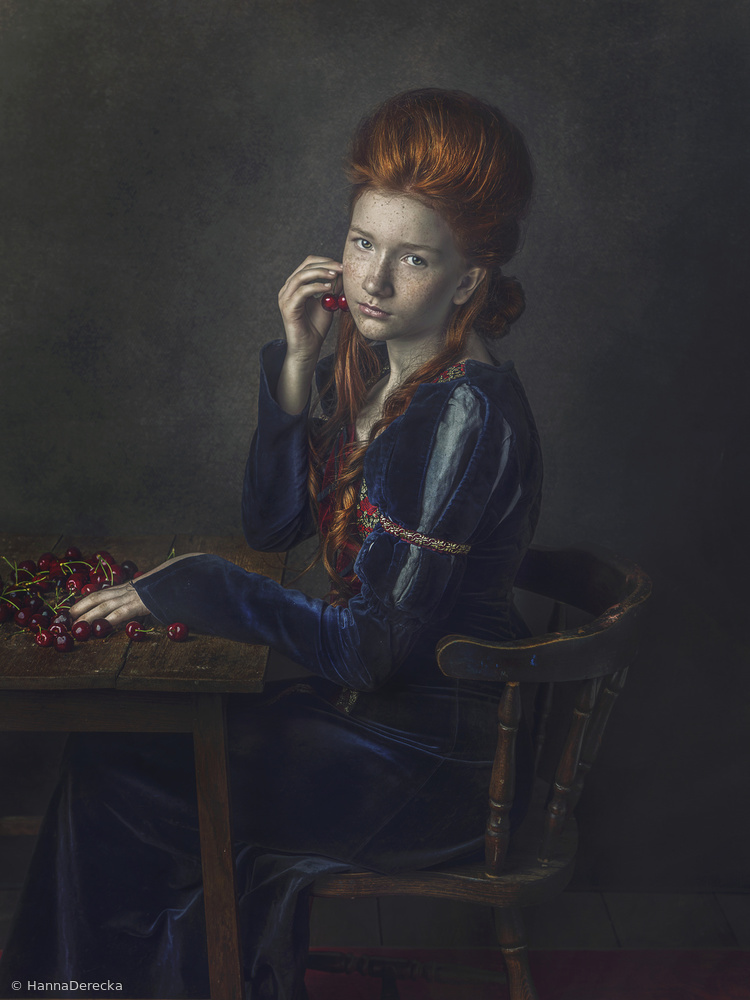 View this piece of fine art photography titled Zuzanna with cherries by Hanna Derecka