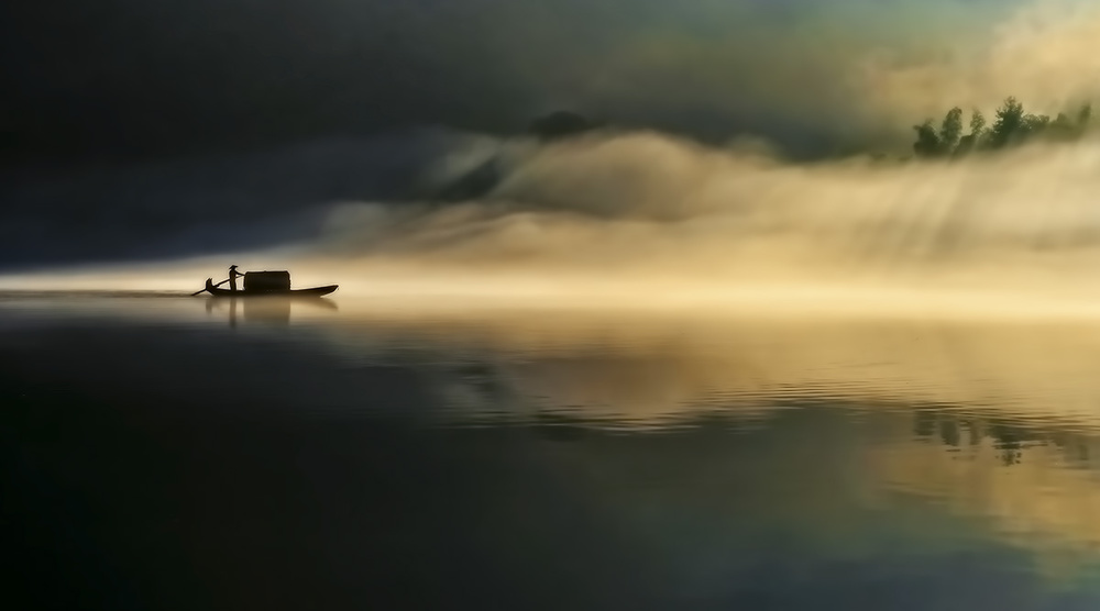 A piece of fine art art photography titled Fog Sprinkle the East River by Hua Zhu