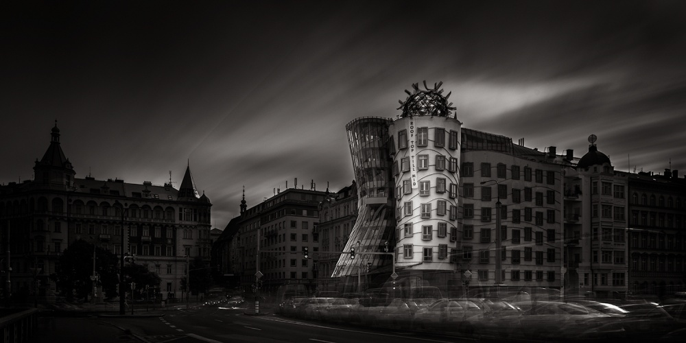 A piece of fine art art photography titled Pavane the Sound of Light and Darkness VI_Dancing House by Gittan Beheydt