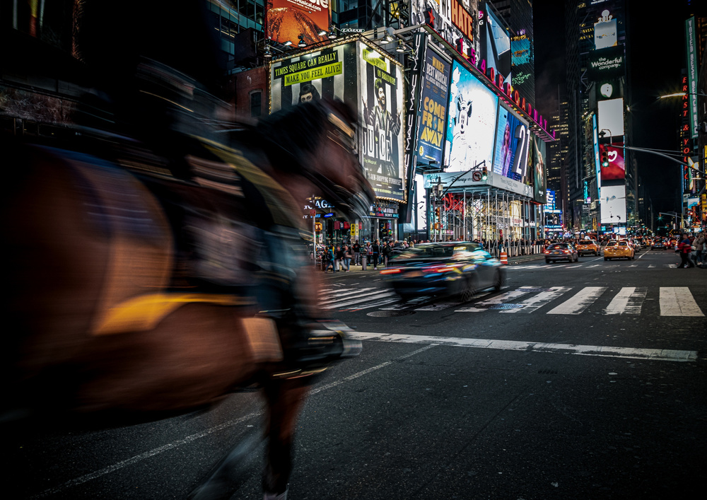 View this piece of fine art photography titled The horse that runs in Times Square by Marco Tagliarino