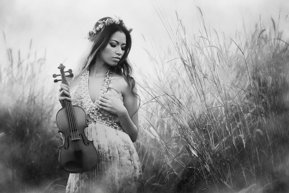 A piece of fine art art photography titled Violin In the Heart by Eka Putera
