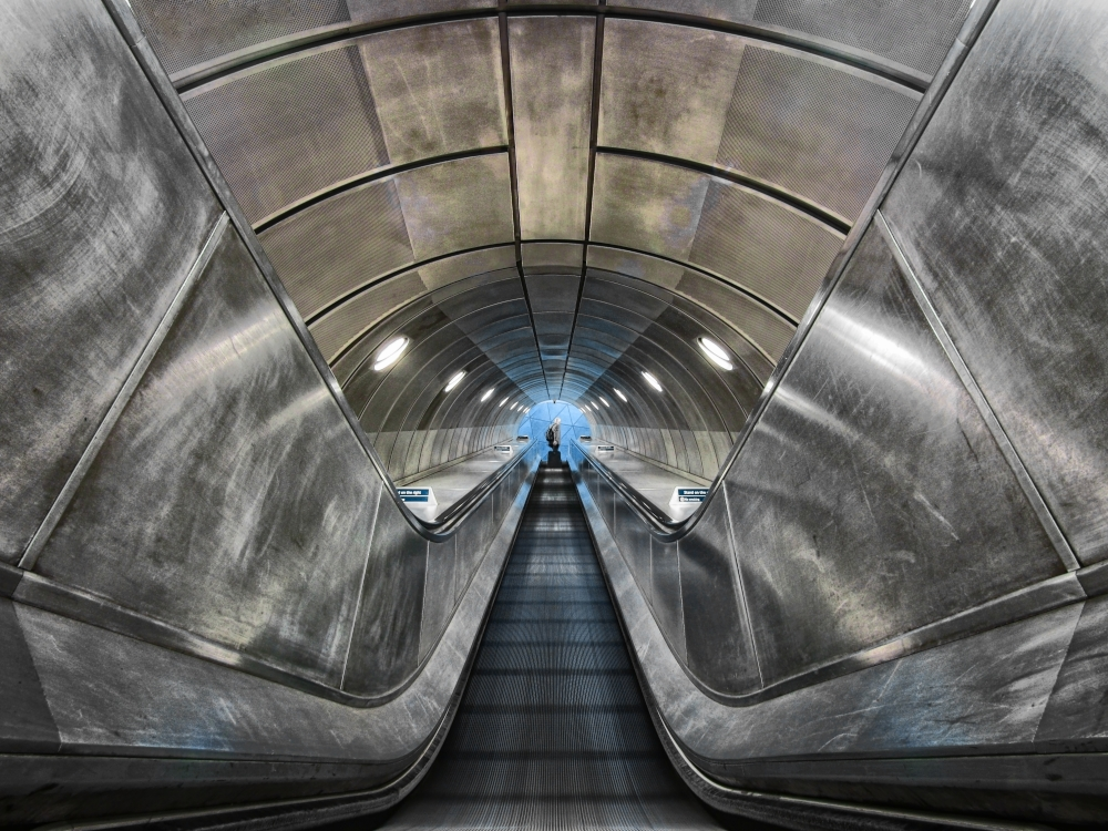 A piece of fine art art photography titled  Escalator  by Claudia Leverentz