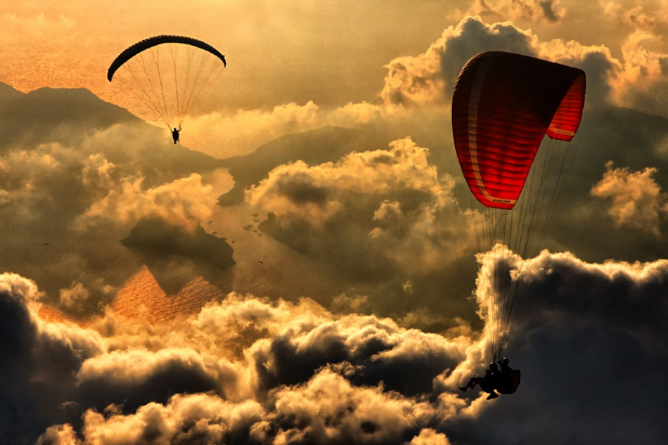 A piece of fine art art photography titled Paragliding 2 by Yavuz Sariyildiz