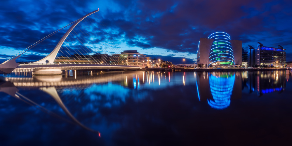 A piece of fine art art photography titled Dublin - Samuel Beckett Bridge by Jean Claude Castor