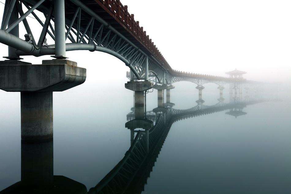 A piece of fine art art photography titled Moon Shadow Bridge by HaYoi