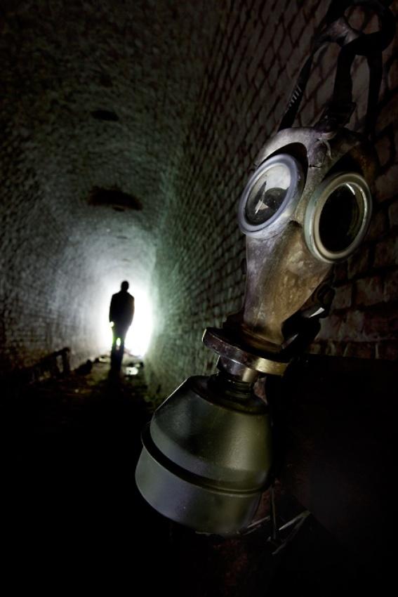 A piece of fine art art photography titled 1st World War Gas Mask by Raven