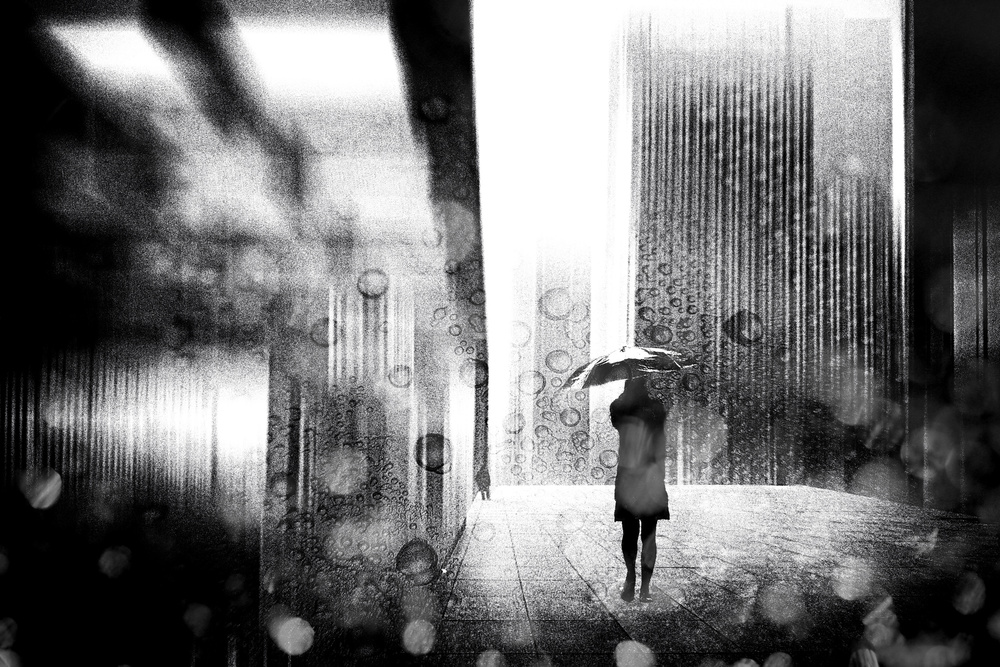 A piece of fine art art photography titled A Raining Day In Berlin by Stefan Eisele