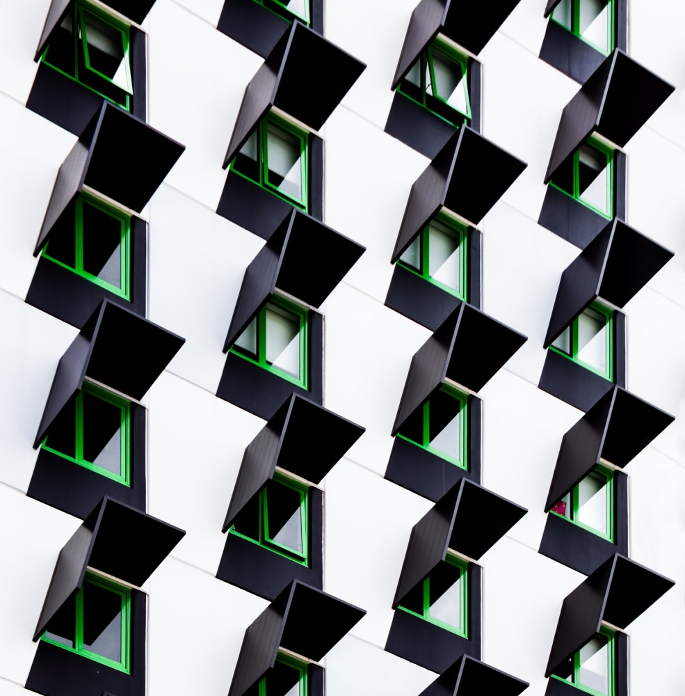 A piece of fine art art photography titled Zig Zag Windows by Jacqueline Hammer