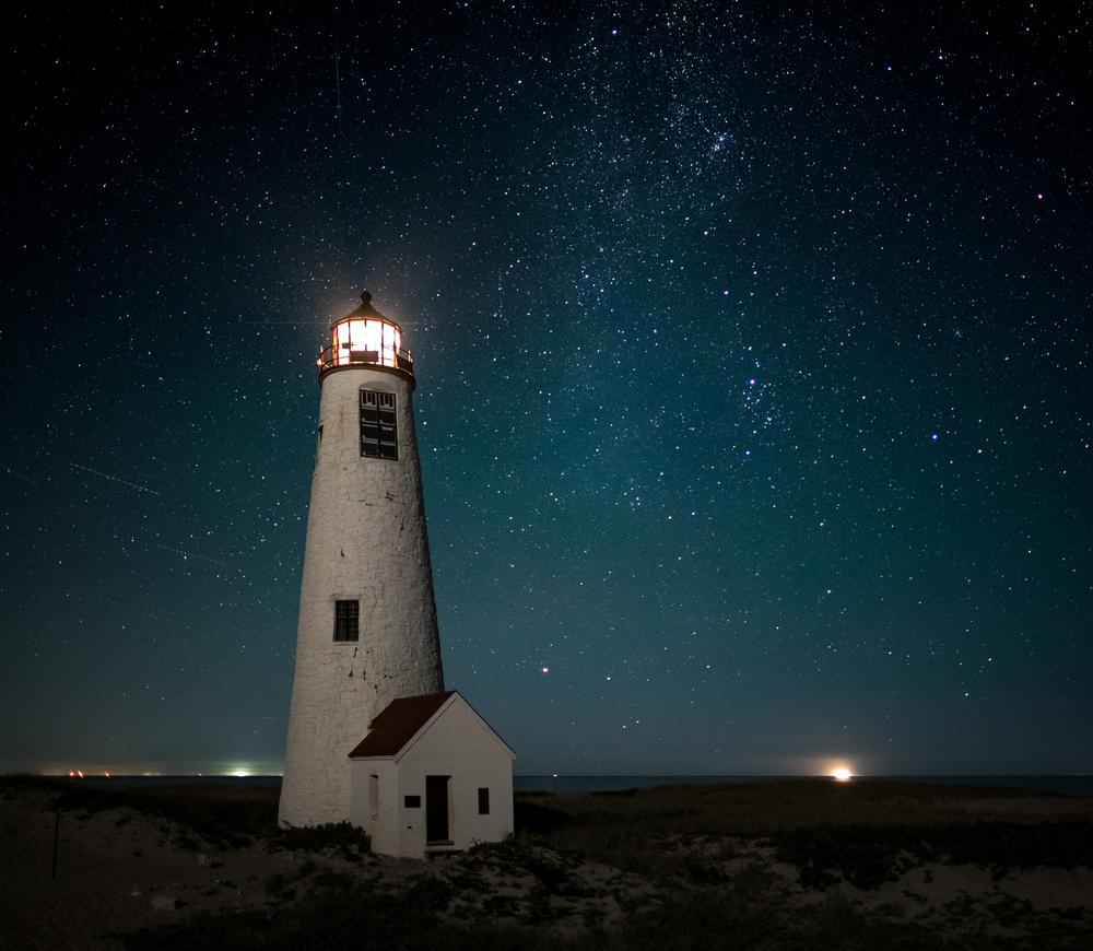 A piece of fine art art photography titled Great Point Light, Midnight by Scott Pilla