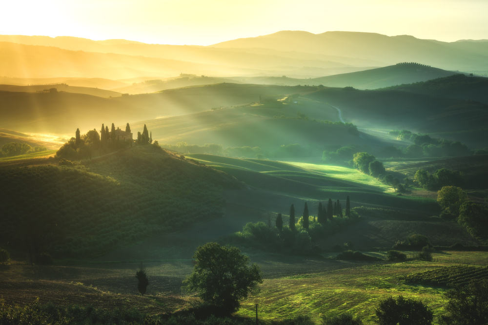 A piece of fine art art photography titled Tuscany - Val D'Orcia Sunrise by Jean Claude Castor