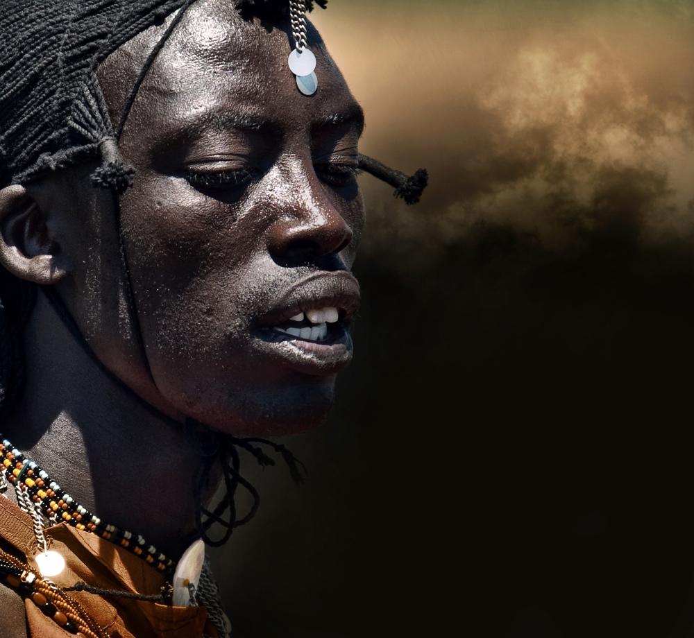 A piece of fine art art photography titled Dancing Masai by Piet Flour