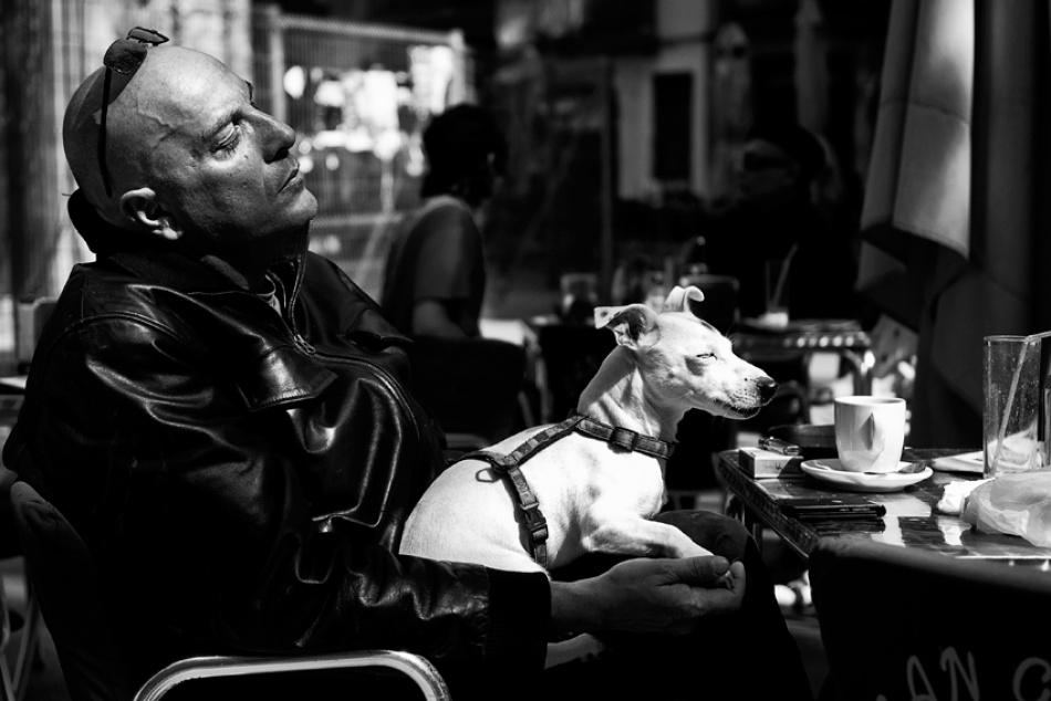 A piece of fine art art photography titled Cafè Enjoyment by Helle Lorenzen