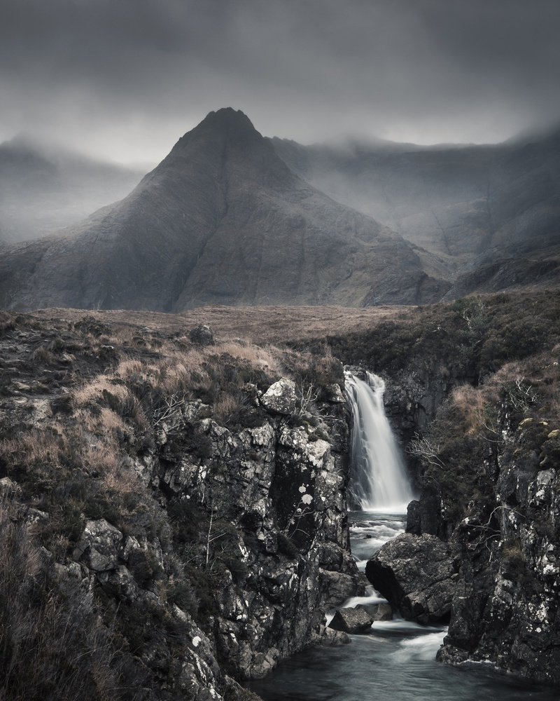A piece of fine art art photography titled Moody Fairy Pools by Graham Kelly