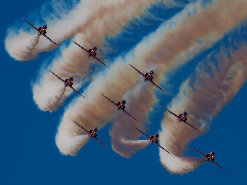 A piece of fine art art photography titled Red Arrows by Actionpix