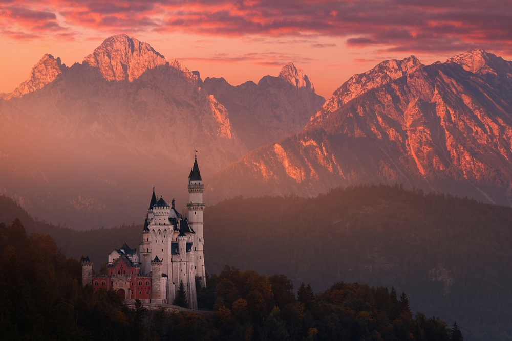 A piece of fine art art photography titled Red Morning Above the Castle by Daniel Řeřicha