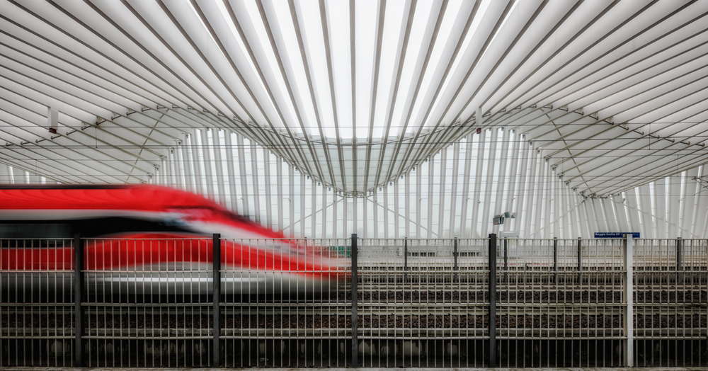 A piece of fine art art photography titled Red Train by Matteo Musetti