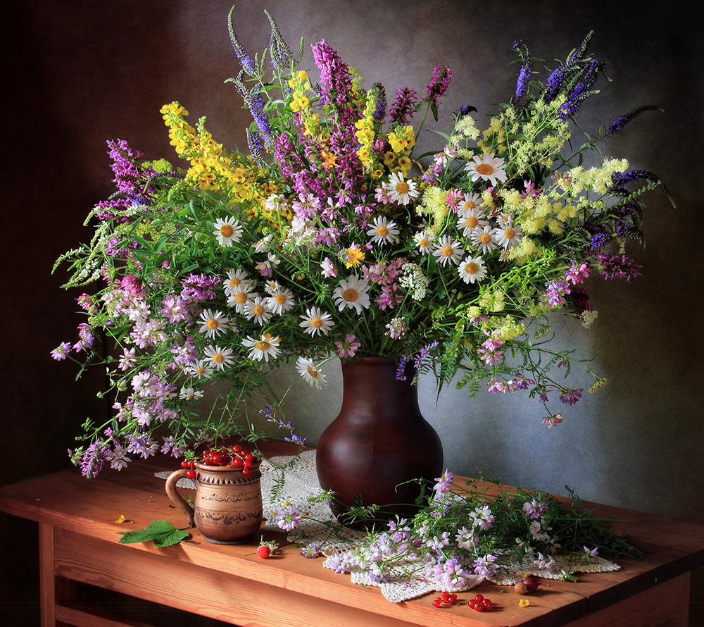 A piece of fine art art photography titled Still Life With Wildflowers and Berries by Tatyana Skorokhod (Татьяна Скороход)