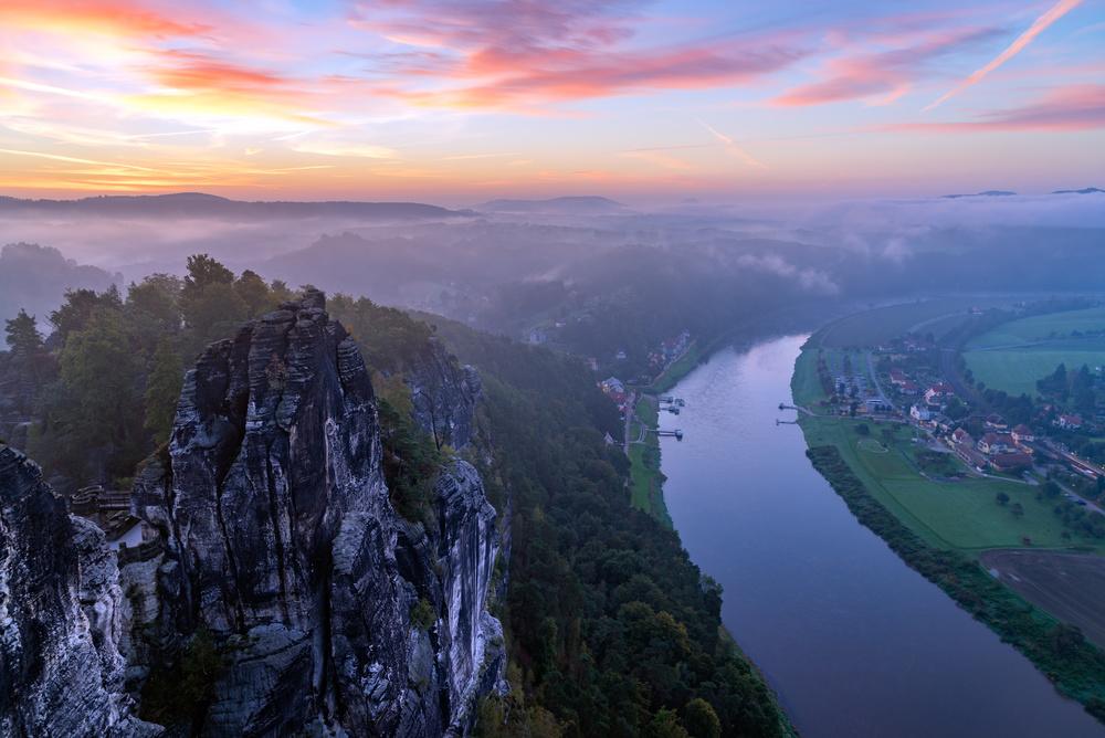 Bastai and Elbe river, Saxony, Germany