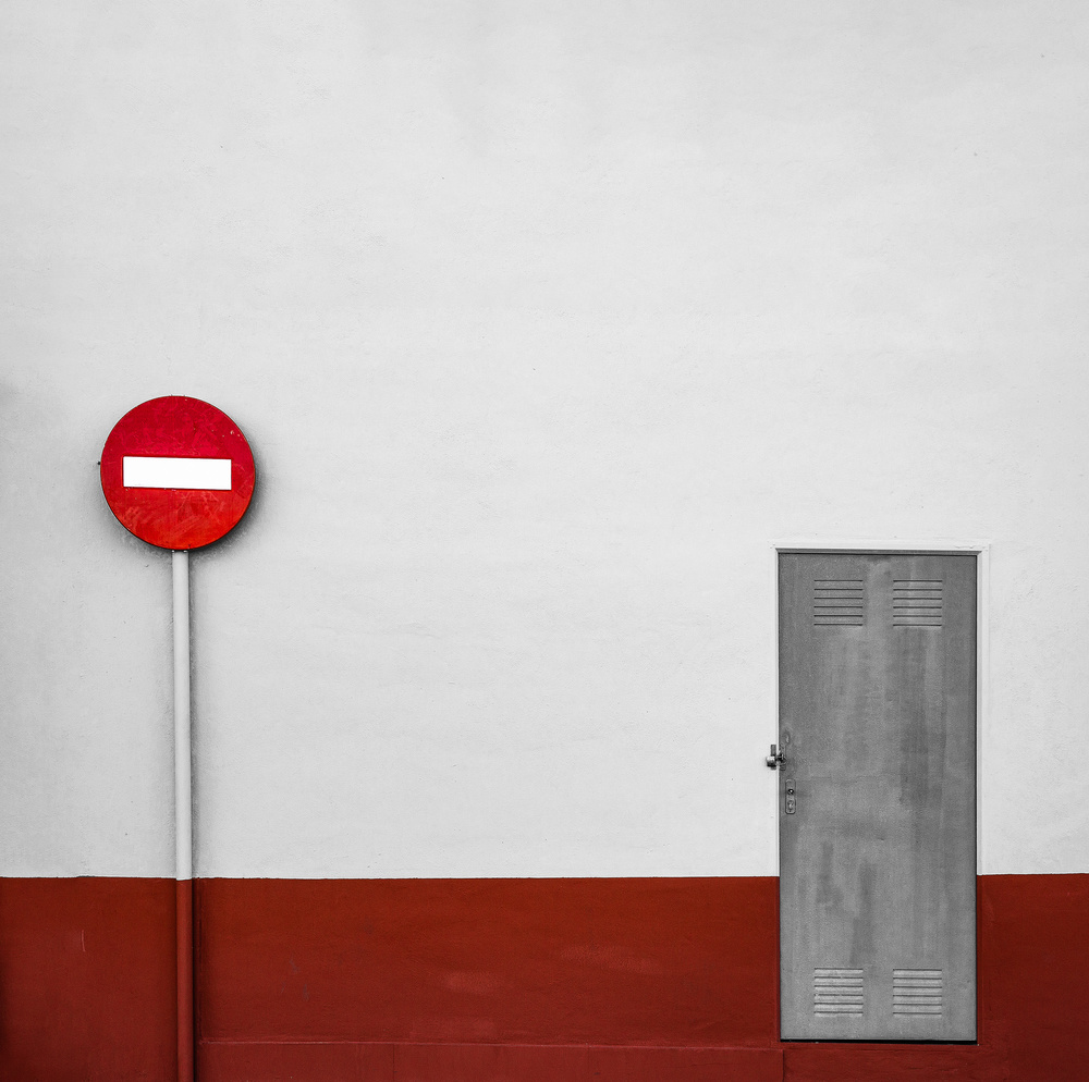 Composition with door and sign