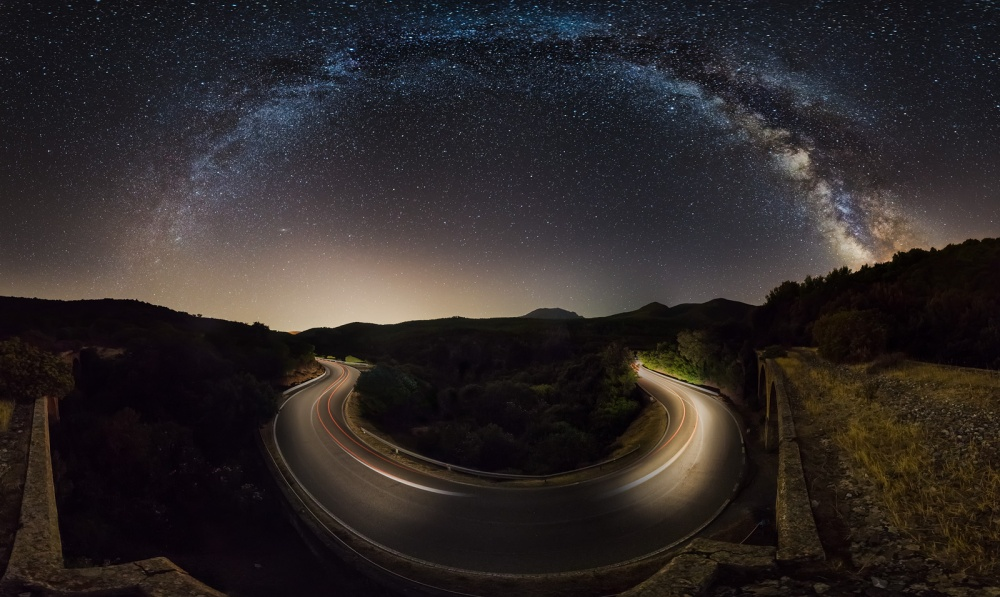 A piece of fine art art photography titled Starry Road by Ivan Pedretti