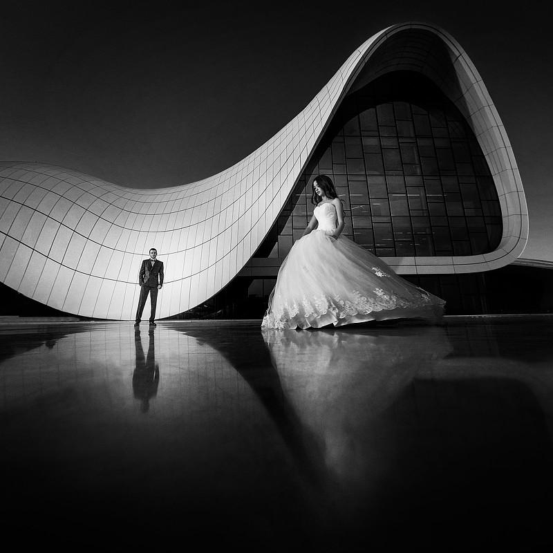 A piece of fine art art photography titled Wedding Geometry by Dmytro Sobokar