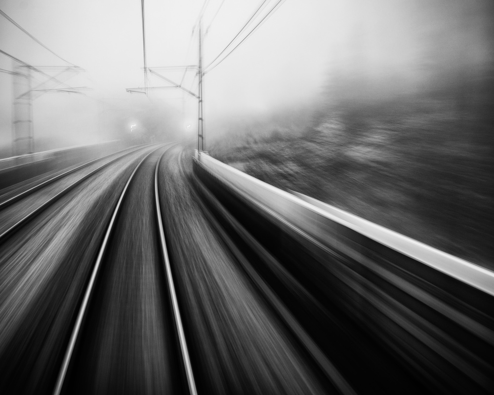 A piece of fine art art photography titled From the Last Wagon of the Train by Mats Persson