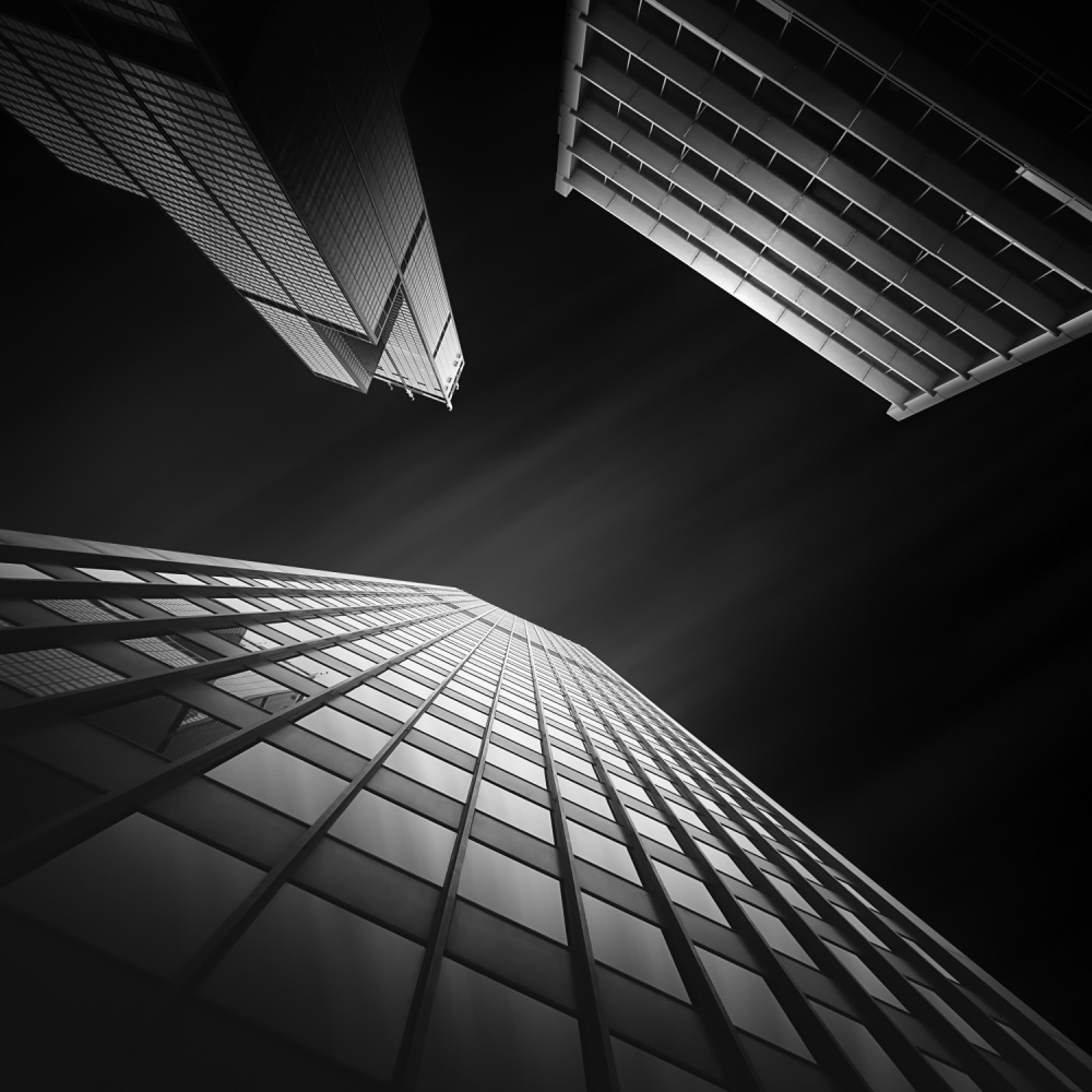 A piece of fine art art photography titled Glass Ladies II ~ Vertical Tension ~ Willis Tower by Mabry Campbell