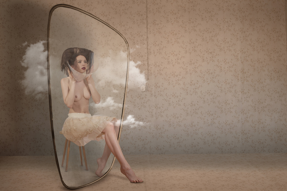 View this piece of fine art photography titled The girl behind the mirror by Christine von Diepenbroek