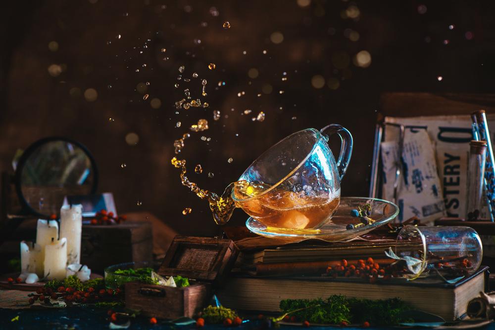 A piece of fine art art photography titled Poltergeist Tea by Dina Belenko