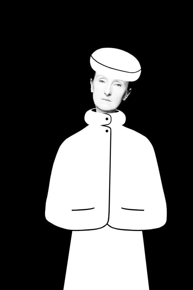 A piece of fine art art photography titled Woman In White Coat - Cycle by Małgorzata Kossakowska
