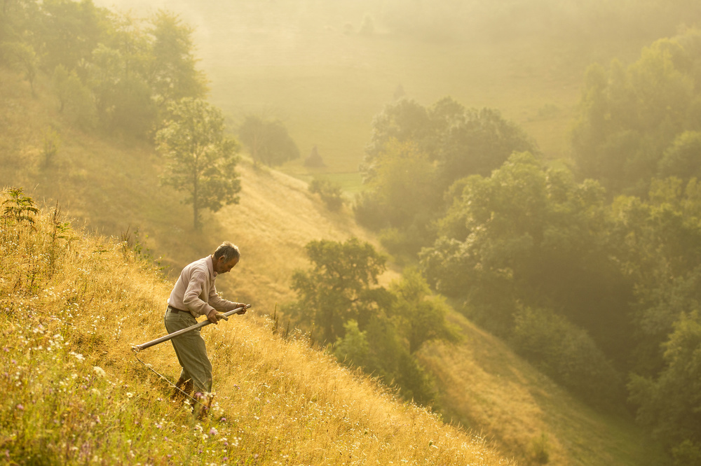 A piece of fine art art photography titled Matinal Cu Coasa (early Moment With Scythe) by Vlad Dumitrescu