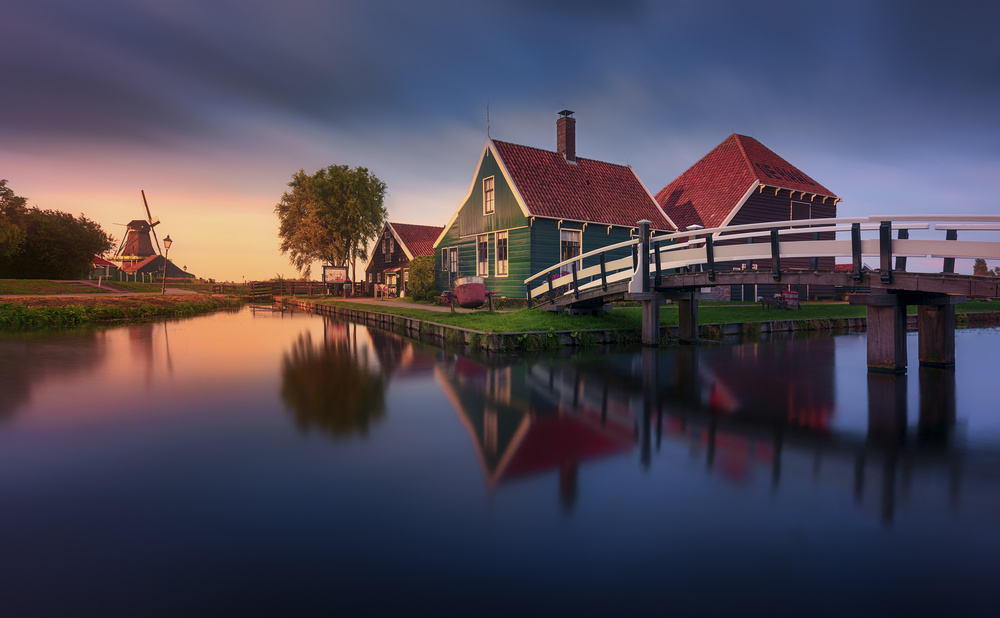 A piece of fine art art photography titled Zaanse Schans Green House by Jesús M. García