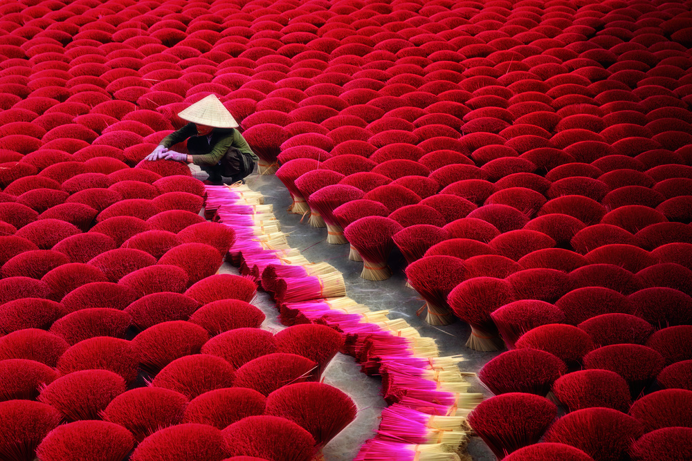 A piece of fine art art photography titled Drying Incense Sticks by Nguyen Tan Tuan