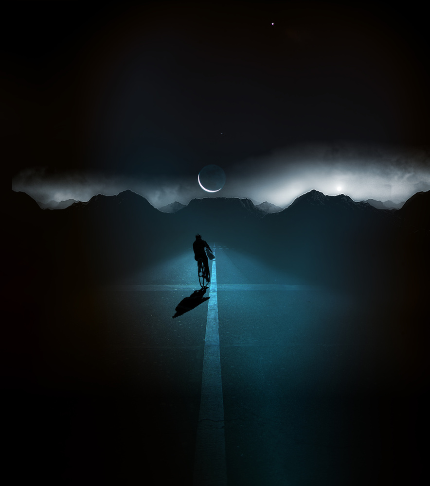 View this piece of fine art photography titled Vélo de nuit by Thomas Thomopoulos