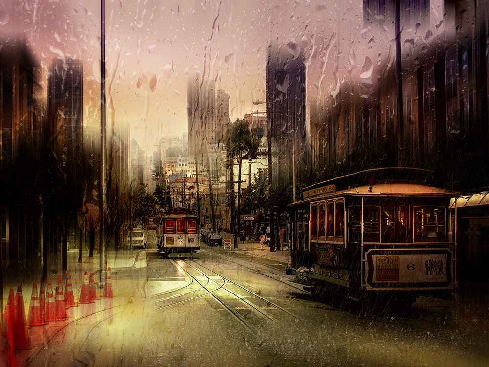 A piece of fine art art photography titled Rainy Day In San Francisco by Luba Chapman