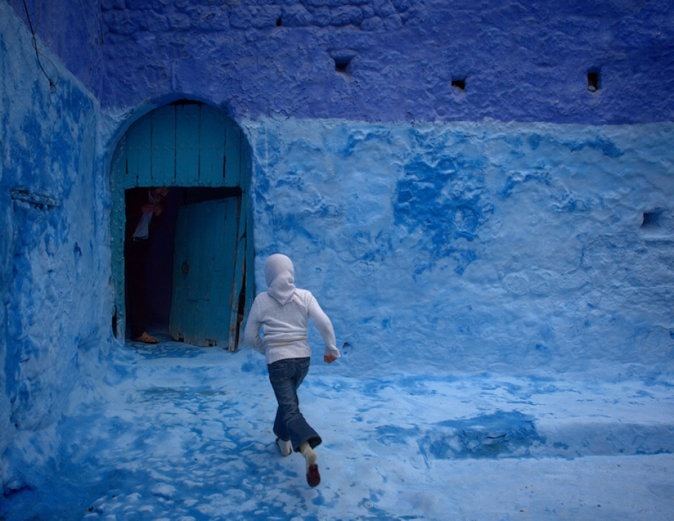 A piece of fine art art photography titled Chefchaouen Blues by Rui Pires