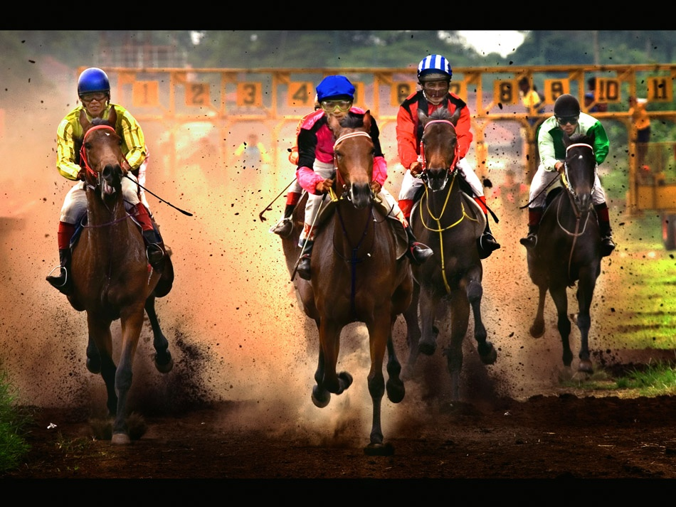 A piece of fine art art photography titled Horse Race by Boedi Wiyarno