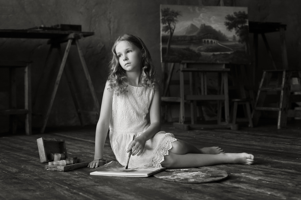 A piece of fine art art photography titled Waiting for the Inspiration by Victoria Ivanova
