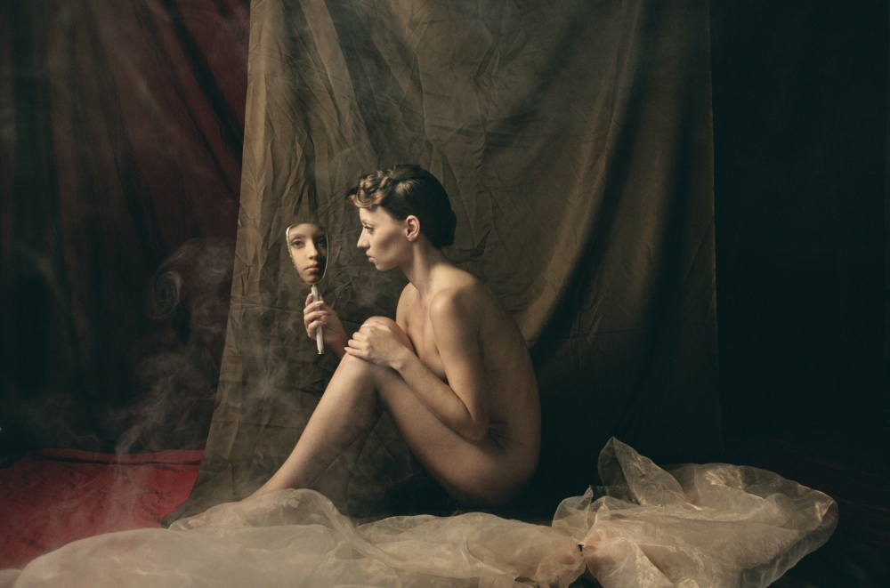 A piece of fine art art photography titled Maria With Mirror II by Kiril Stanoev