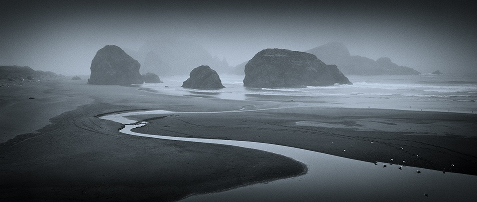 A piece of fine art art photography titled Fog at Stream's End by Doug Roane