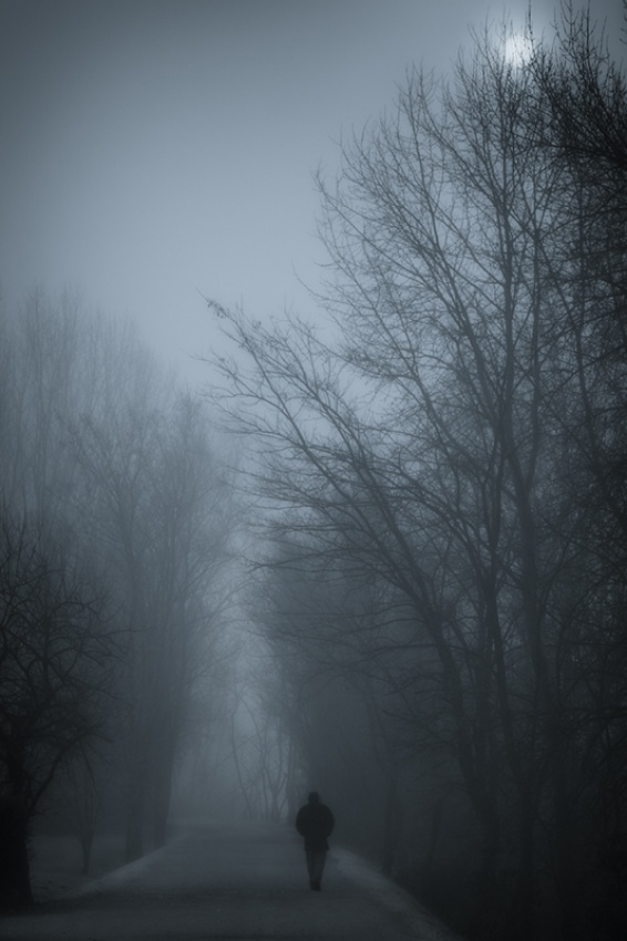 A piece of fine art art photography titled Lost In Fog by Paolo Ordigoni